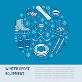 Winter sports banner, equipment rent at ski resort. Vector line icon of skates, hockey sticks, sleds, snowboard, snow Royalty Free Stock Photography