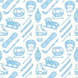 Winter sports blue colored seamless pattern, equipment rental at ski resort. Vector flat line icons - skates, hockey. Sticks, sleds, snowboard, snow tubing Stock Photos