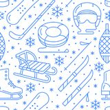 Winter sports blue seamless pattern, equipment rental at ski resort. Vector flat line icons - skates, hockey sticks. Sleds, snowboard, snow tubing. Cold season Royalty Free Stock Photo