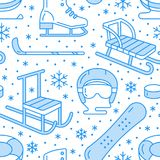 Winter sports blue seamless pattern, equipment rental at ski resort. Vector flat line icons - skates, hockey sticks. Sleds, snowboard, snow tubing. Cold season Stock Images