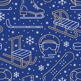 Winter sports blue seamless pattern, equipment rental at ski resort. Vector flat line icons - skates, hockey sticks. Sleds, snowboard, snow tubing. Cold season Royalty Free Stock Images