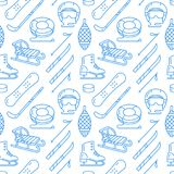 Winter sports blue seamless pattern, equipment rental at ski resort. Vector flat line icons - skates, hockey sticks. Sleds, snowboard, snow tubing. Cold season Royalty Free Stock Photography