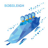 Winter sports - bobsleigh. Cartoon athletes ride in bobsled Royalty Free Stock Photography