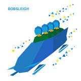 Winter sports - bobsleigh. Cartoon athletes ride in bobsled Stock Images