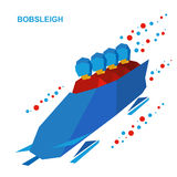 Winter sports - bobsleigh. Cartoon athletes ride in bobsled. Stock Image