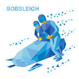 Winter sports - bobsleigh. Cartoon athletes running near bobsled Royalty Free Stock Image
