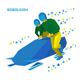 Winter sports - bobsleigh. Cartoon athletes running near bobsled Royalty Free Stock Images