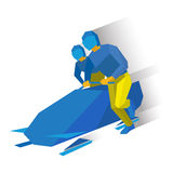 Winter sports - bobsleigh. Cartoon athletes running near bobsled Royalty Free Stock Photos
