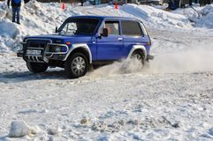 Winter sports car enthusiasts Royalty Free Stock Photography