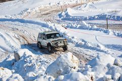 Winter sports car enthusiasts Royalty Free Stock Image