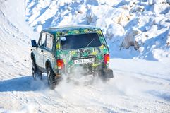 Winter sports car enthusiasts Stock Photo