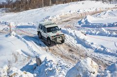 Winter sports car enthusiasts Stock Image