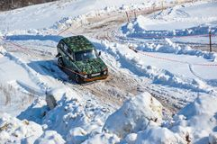 Winter sports car enthusiasts Royalty Free Stock Images
