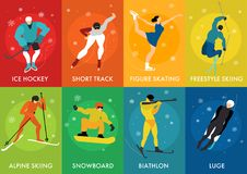 Winter Sports Cards. Set with luge freestyle ice hockey short track alpine skiing figure skating isolated vector illustration Stock Photo