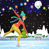 Winter sports. Cartoon skating woman training Stock Images