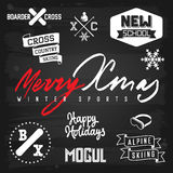 Winter sports Christmas Greetings. Winter sports ski snowboarding Christmas badges and greetings chalkboard. EPS-10 vector with transparency Stock Images