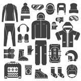 Winter Sports Clothes Outline Icons Royalty Free Stock Photo