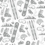 Winter sports collection pattern Royalty Free Stock Photos