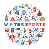 Winter sports colorful thin line icons set, Clothing and equipment Royalty Free Stock Images