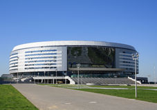 Winter sports complex. Complex Minsk-Arena is a multi-sports and entertainment arena with stands for 15 thousand spectators, which has no analogues on the Stock Image