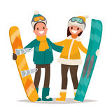 Winter sports. Couple man and woman with a snowboard and skis. V Royalty Free Stock Image