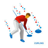Winter sports - curling. Cartoon player clear way to stone Royalty Free Stock Photo