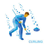 Winter sports - curling. Cartoon player clear way to stone Royalty Free Stock Images