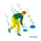 Winter sports - curling. Cartoon player clear way to stone. Winter sports - curling. Cartoon player clear the way to stone. Curler with broom in hand run on ice Royalty Free Stock Photography