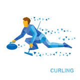 Winter sports - curling. Cartoon player slide stone. Stock Photography