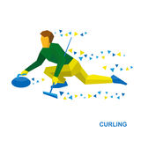 Winter sports - curling. Cartoon player slide stone. Curler with broom in hand sitting on ice. Flat style vector clip art isolated on white background Stock Photos