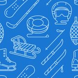 Winter sports dark blue seamless pattern, equipment rental at ski resort. Vector flat line icons - skates, hockey sticks. Sleds, snowboard, snow tubing. Cold Royalty Free Stock Photo