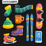 Winter Sports Elements Collection Royalty Free Stock Image
