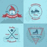 Winter Sports Emblems 2x2. With extreme contest, snowmobile championship, professional hockey, figure skating isolated vector illustration Royalty Free Stock Photos