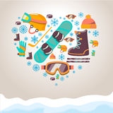 Winter Sports equipment background. Snowboard  and hockey icons Stock Photos