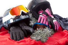 Winter sports equipment. The composition of winter sports equipment, horizontal royalty free stock photo
