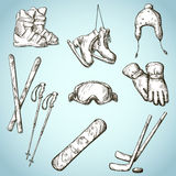 Winter sports equipment icons collection Royalty Free Stock Images