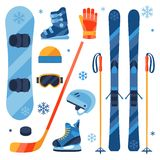 Winter sports equipment icons set in flat design Royalty Free Stock Photo