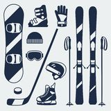 Winter sports equipment icons set in flat design Royalty Free Stock Photos