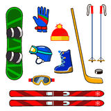 Winter sports equipment icons set. With snowboard, ski, glove, helmet and glasses Stock Images