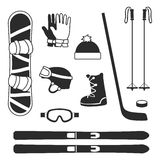 Winter sports equipment icons silhouettes Stock Image