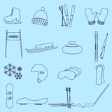 Winter sports and equipment outline icons Stock Photo