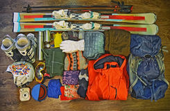 Winter sports equipment set. Ski clothes and accessories Stock Images