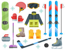 Winter sports equipment set-ski, curling, skates, clothes Stock Image