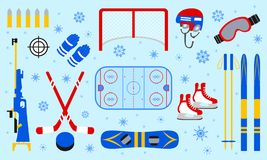 Winter sports equipment set. Skiing, ice hockey, snowboarding, biathlon, skating isolated icons. Blue snowflakes background. Flat royalty free illustration