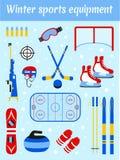 Winter sports equipment set. Sporting accessories vector illustration. Skiing, ice hockey, snowboarding, biathlon. Skating, curling design elements. Flat style royalty free illustration