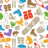 Winter sports equipment silhouettes. Seamless pattern Royalty Free Stock Images