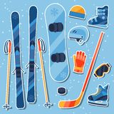 Winter sports equipment sticker icons set in flat Royalty Free Stock Photos