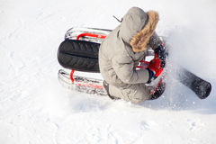 Winter sports: extreme sleighing Royalty Free Stock Photos
