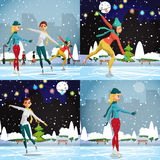 Winter sports. Figures Skating. Women skating at the rink Royalty Free Stock Photos