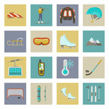 Winter sports flat icons set Royalty Free Stock Photos